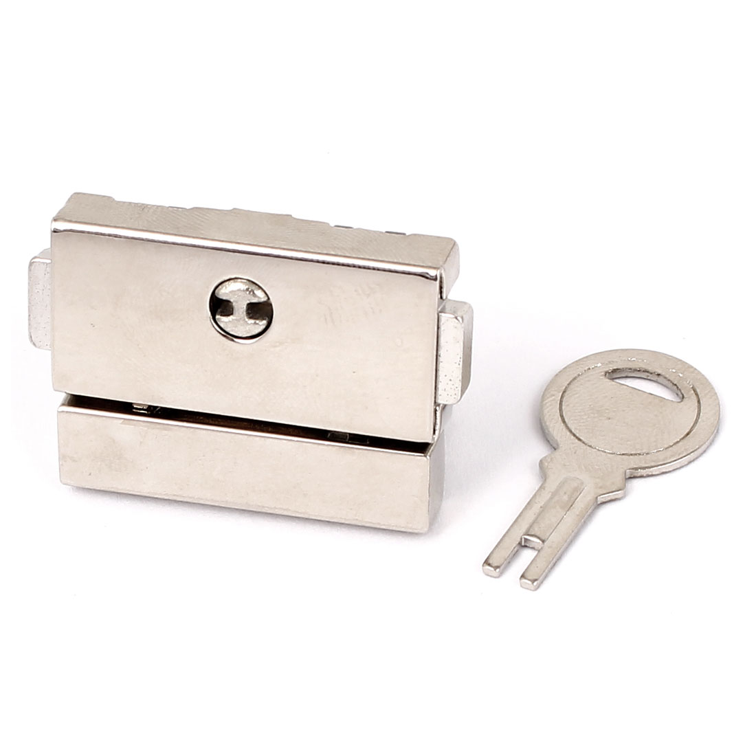 Suitcase Drawer Hasp Boxes Clasp Toggle Lock Latch Silver Tone w Key