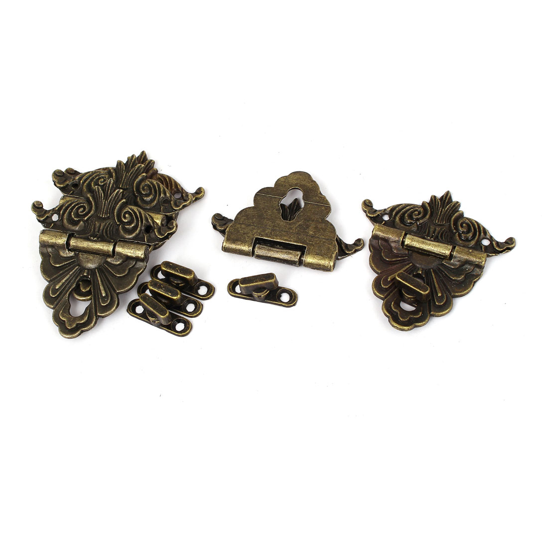 Antique Vintage Style Carved Wooden Box Case Hasp Latch Locking 5pcs