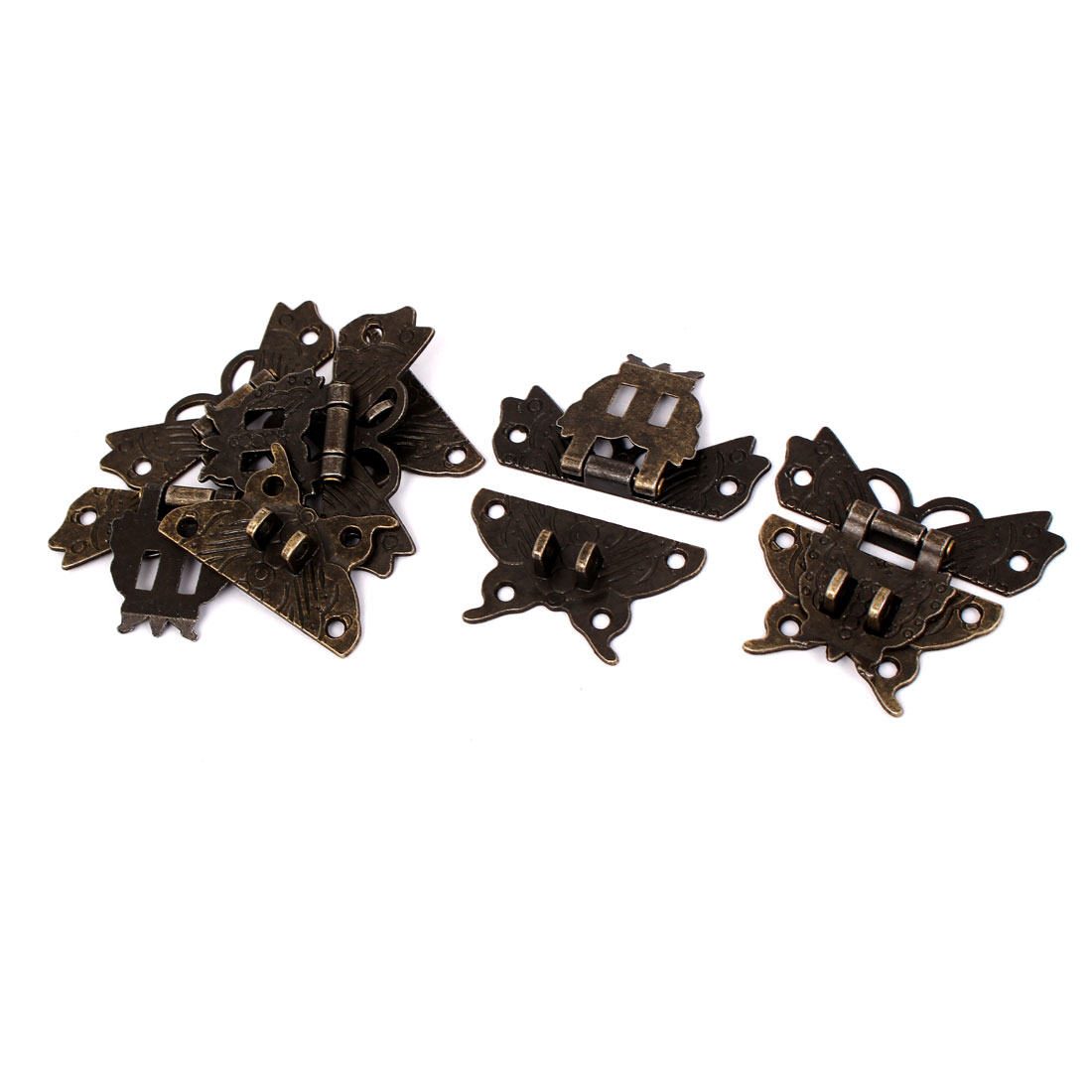 Vintage Style Wood Case Box Butterfly Shape Hasp Lock Latch Bronze Tone 5pcs