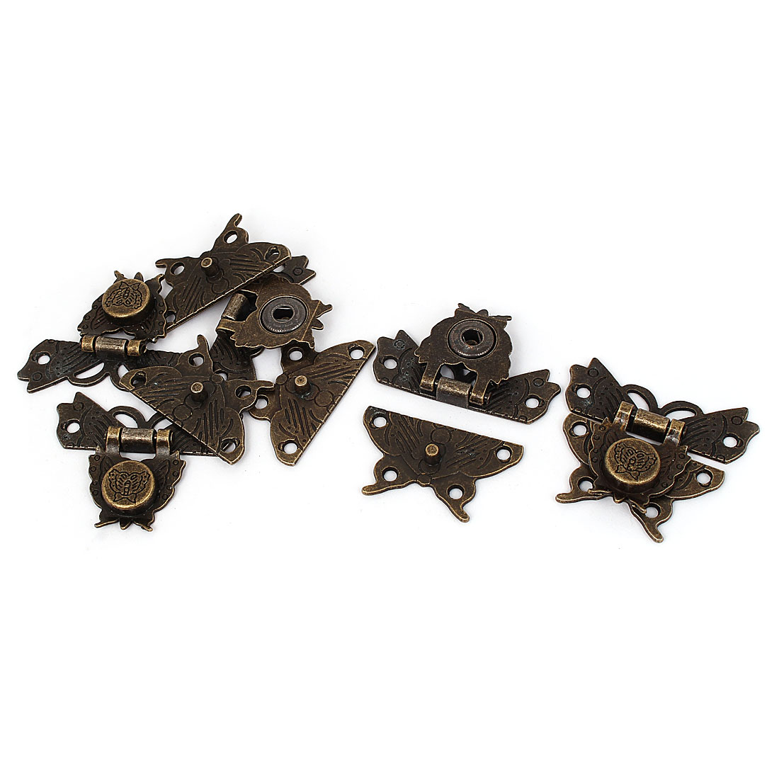Antique Style Butterfly Shape Box Hasp Lock Latch Bronze Tone 50 x 45mm 5pcs