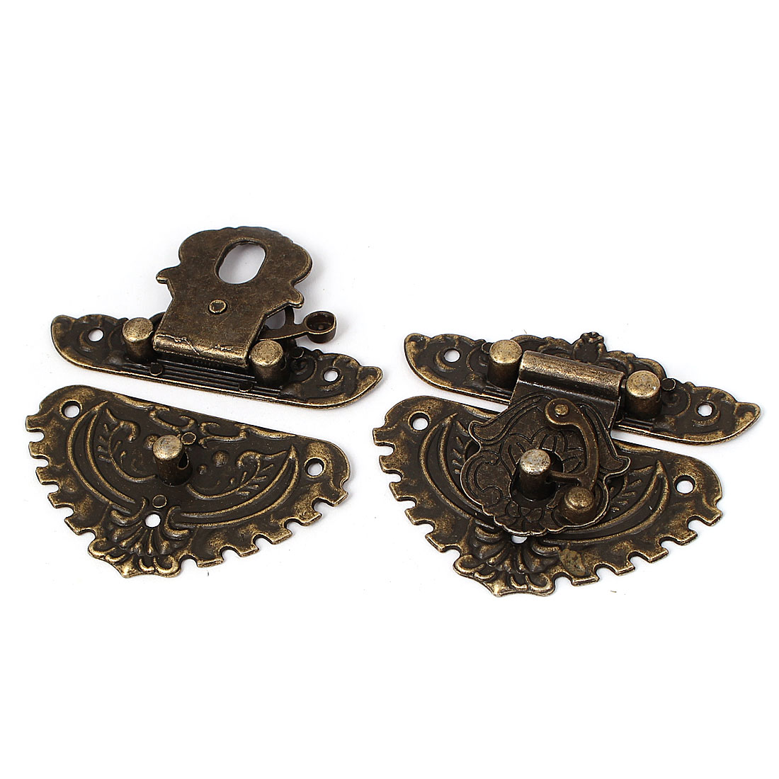Metal Decorative Carved Wood Box Latch Case Hasp Lock Hinge Bronze Tone 2pcs