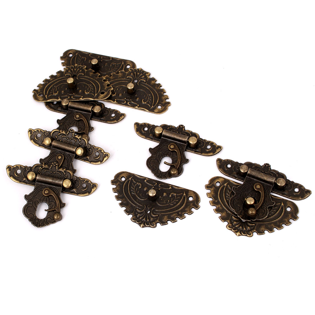 L237E5 Antique Style Wooden Case Chest Box Clasp Hasp Latches Bronze Tone 5pcs