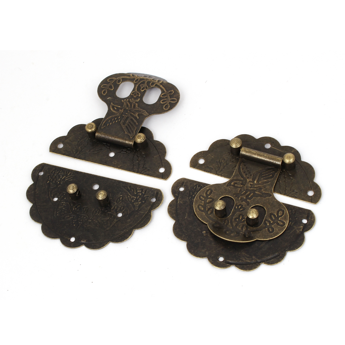 Wooden Case Chest Box Antique Style Round Clasp Hasp Latches Bronze Tone 78mm Dia 2pcs