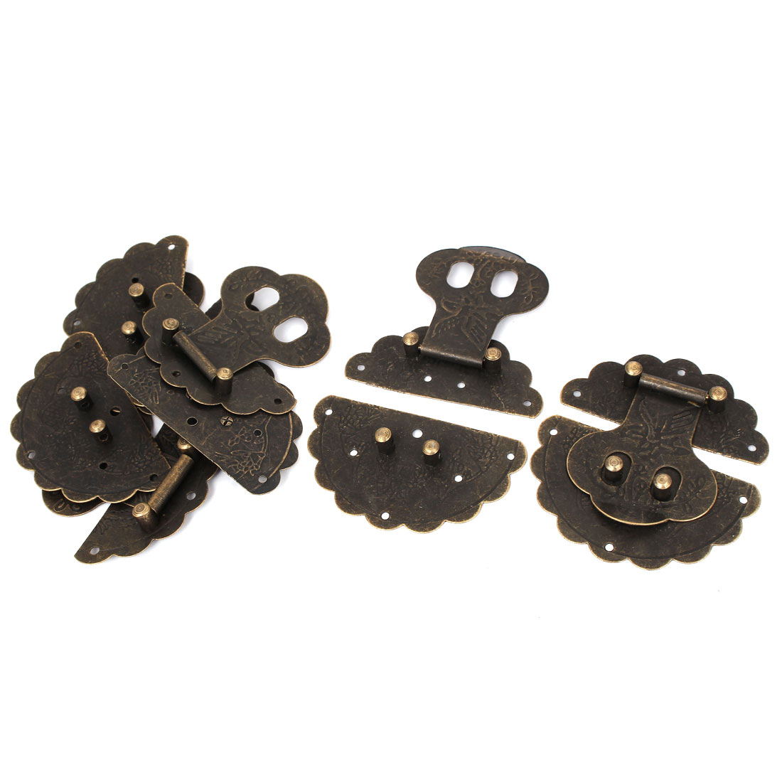 Vintage Style Wooden Case Chest Box 78mm Round Clasp Hasp Latches Bronze Tone 5pcs