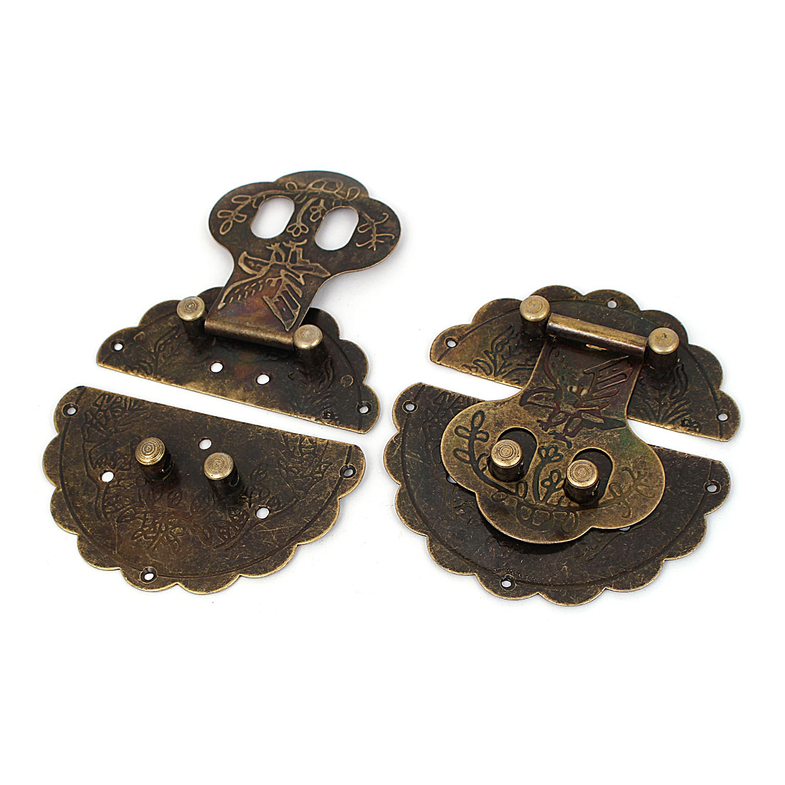 Vintage Style Wooden Case Chest Box 100mm Dia Round Clasp Hasp Latches 2pcs