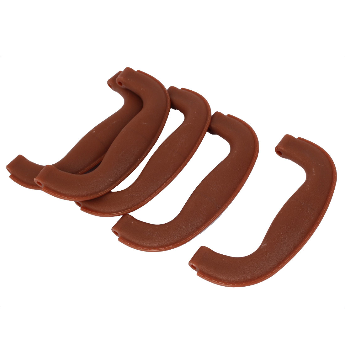 Home Cabin Drawer Box Plastic Bowing Pull Handle Knob Brown 5pcs