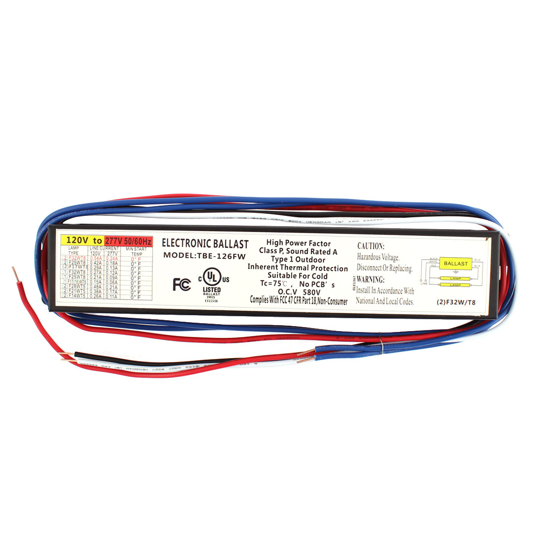 UL Listed AC120V-277V F32T8 32W T8 Lamp Electronic Ballast for 1 or 2 T8 Fluorescent Light