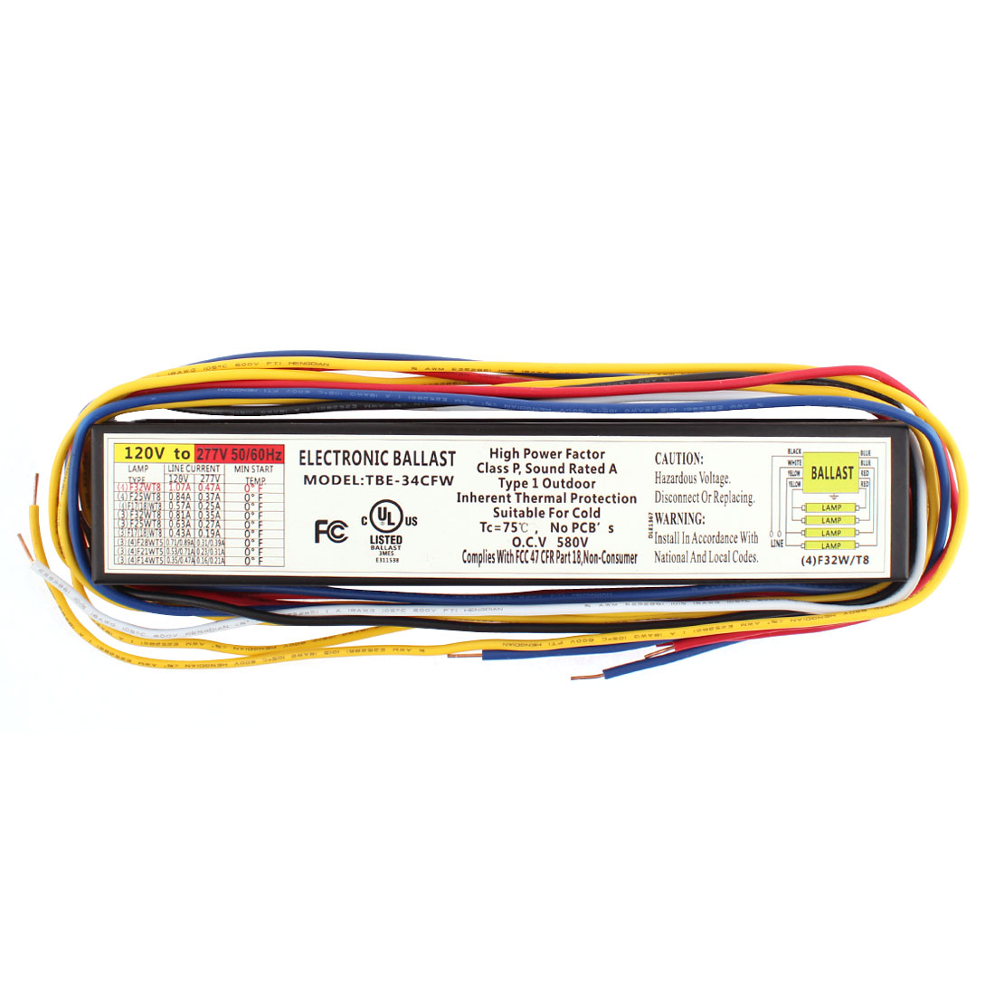 UL Listed AC120V-277V F32T8 32W T8 Lamp Electronic Ballast for 3 or 4 T8 Fluorescent Light