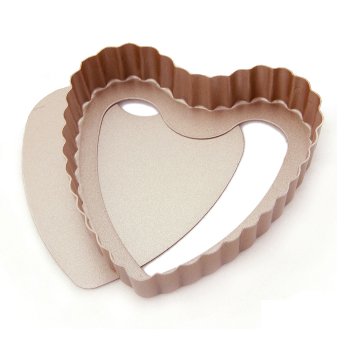 Cupcake Bread Heart Design Wavy Edge Baking Mold Mould Bakeware Pan Champagne Gold