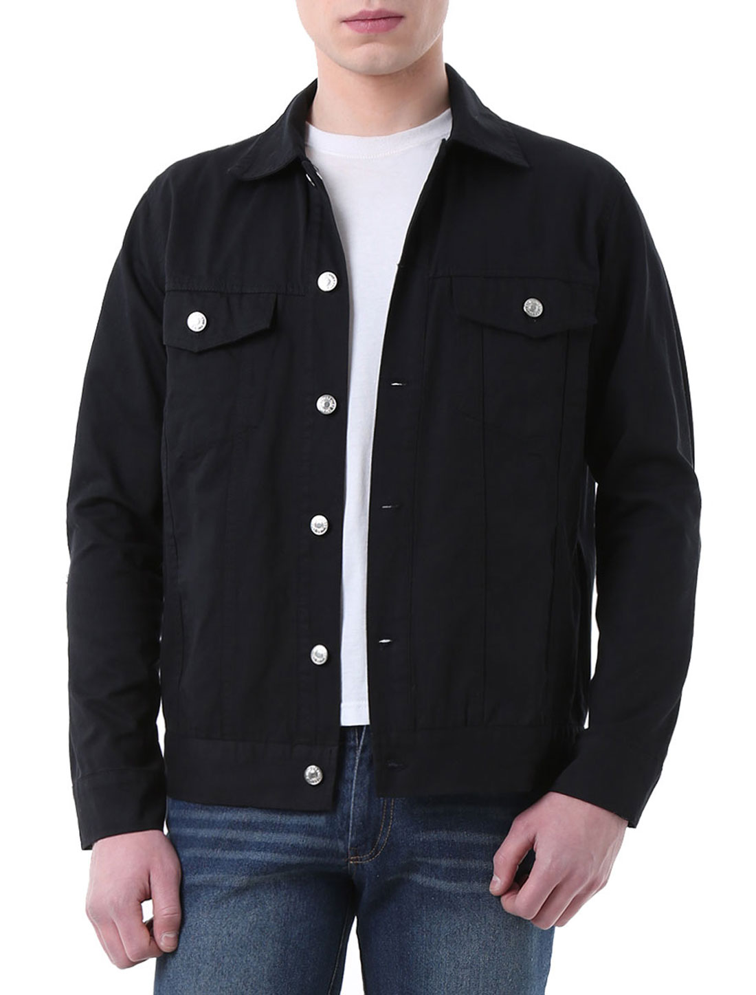 Men Flap Chest Pockets Single Breasted Denim Jackets Black S