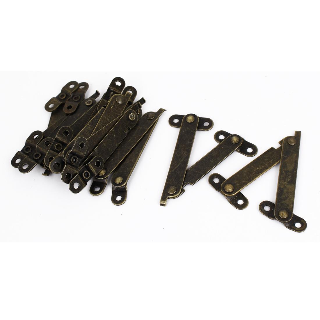 10pcs Furniture Box Rotatable Folding Lid Support Hinge Bronze Tone 11.5cm Long