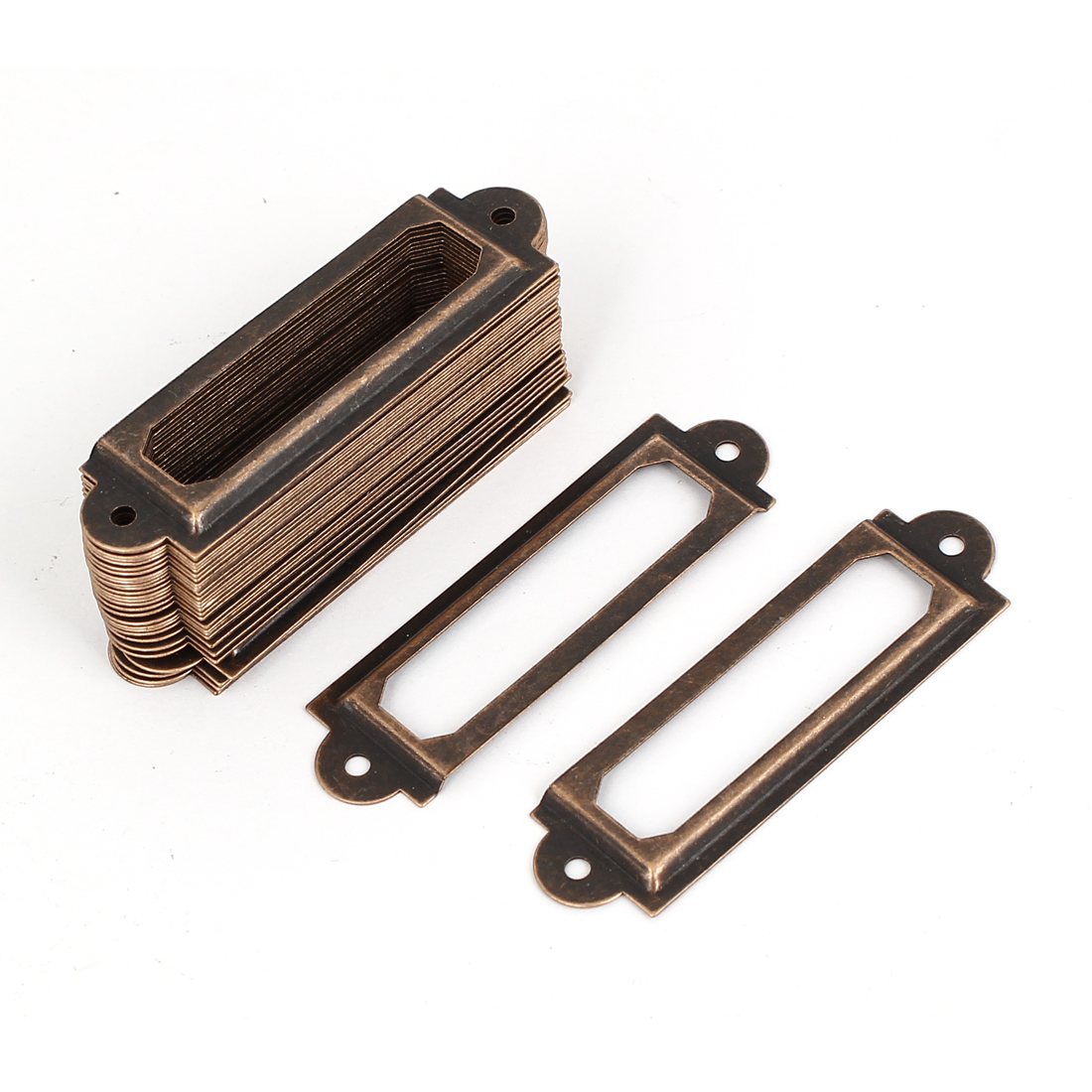 Drawer Cabinet Antique Style Metal Label Pull Holder Frame Copper Tone 30pcs