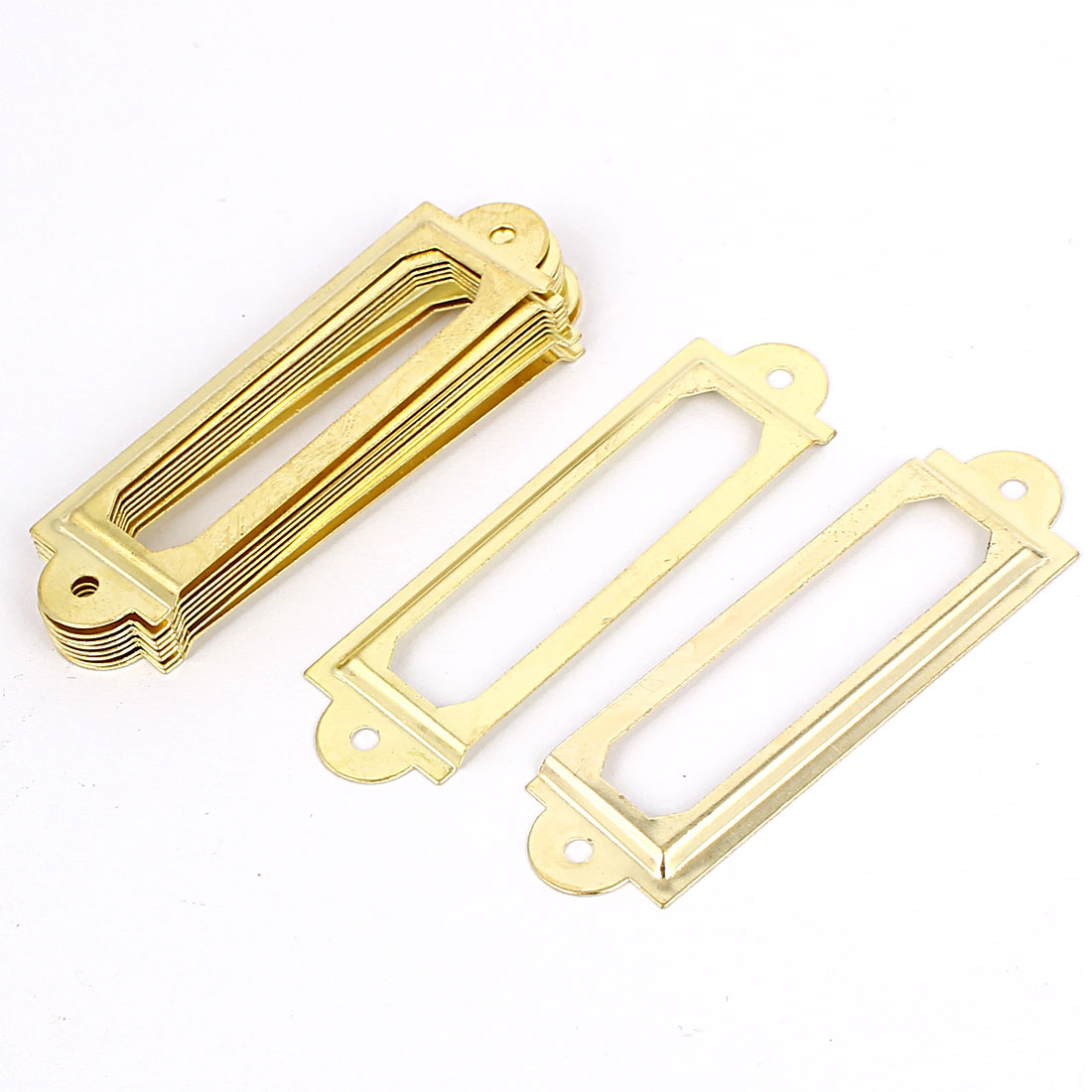 Office Drawer Cabinet Label Pull Holder Frame Gold Tone 10pcs