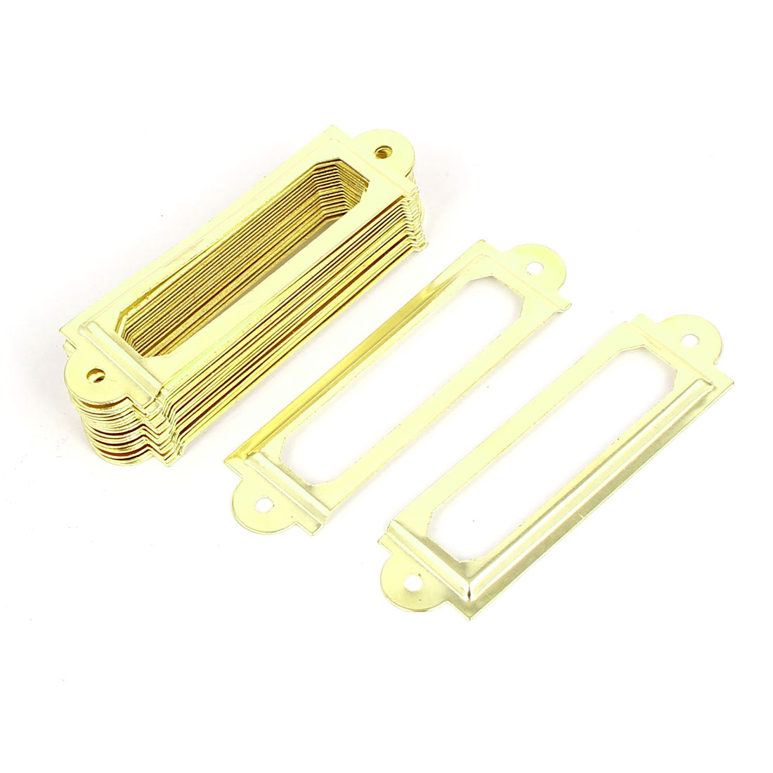Office Drawer Cabinet Label Pull Holder Frame Gold Tone 20pcs