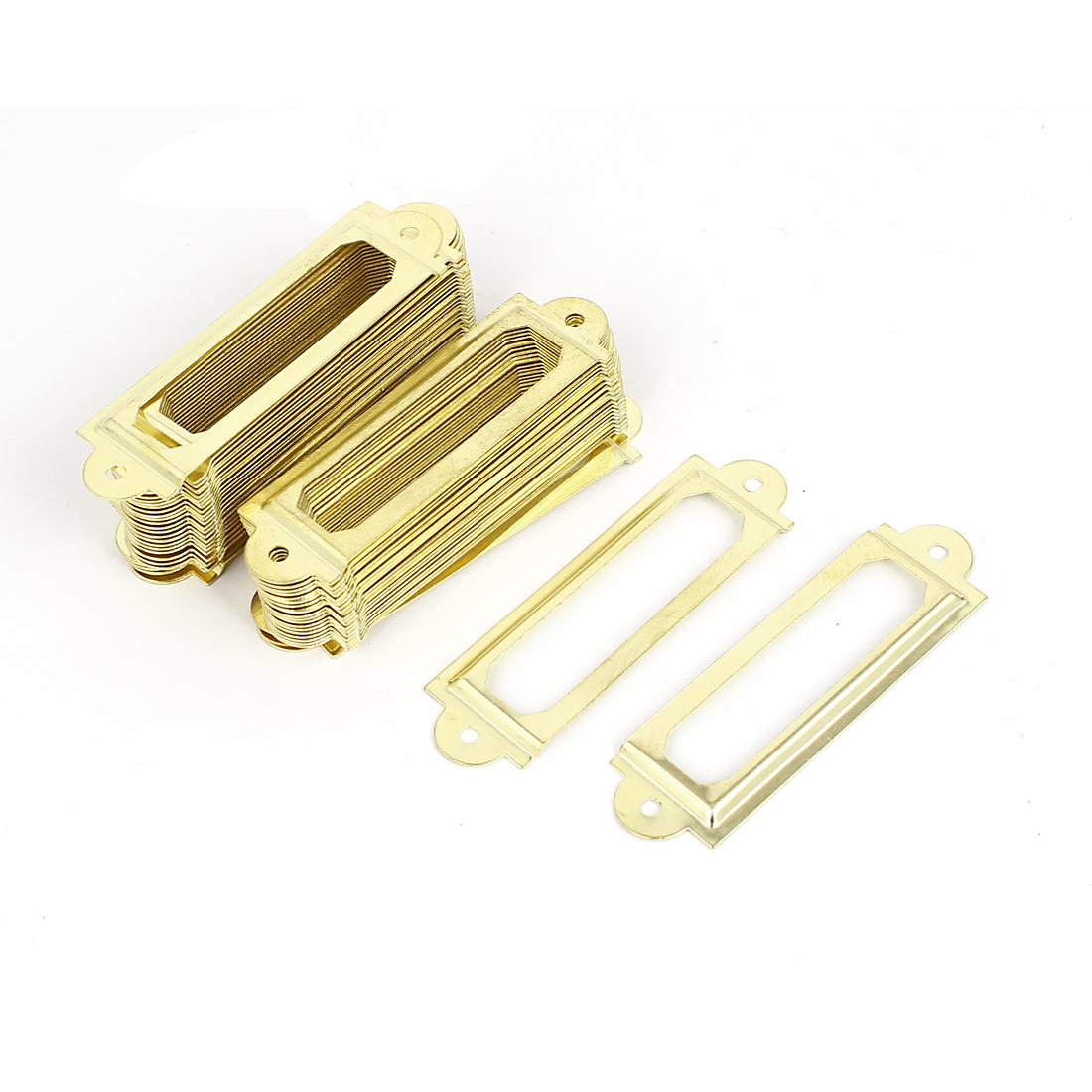 Office Drawer Cabinet Gold Metal Label Pull Holder Frame 50pcs w Screws