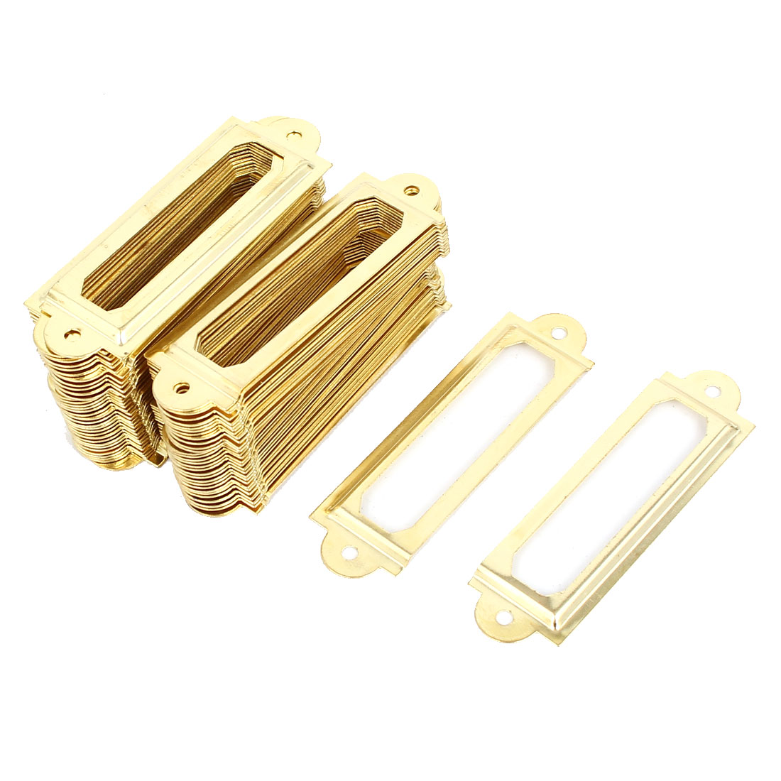 60mmx17mm Office Library Drawer Cabinet Label Pull Holder Frame Gold Tone 100pcs