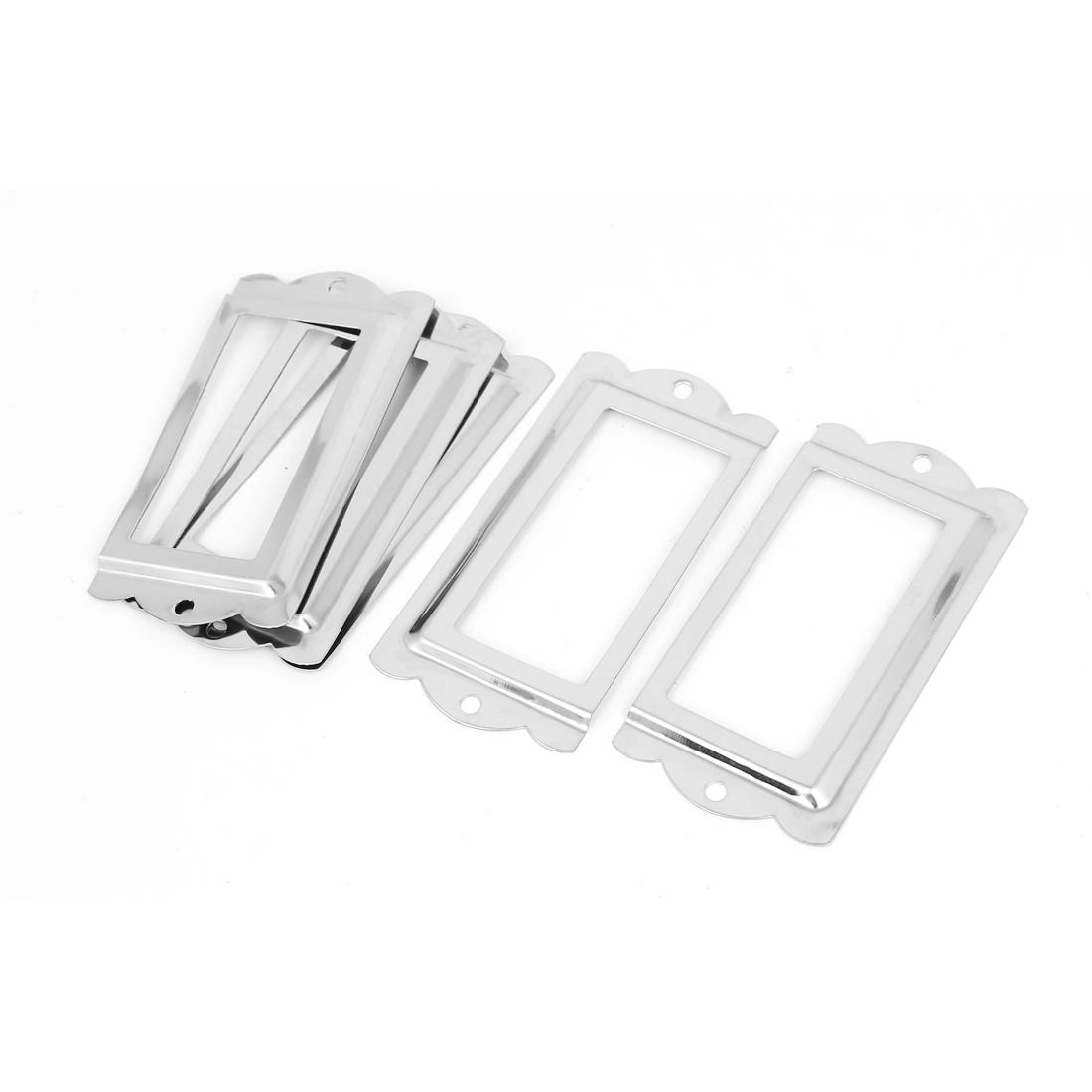 Office Drawer Cabinet Label Pull Holder Frame Blue 5pcs