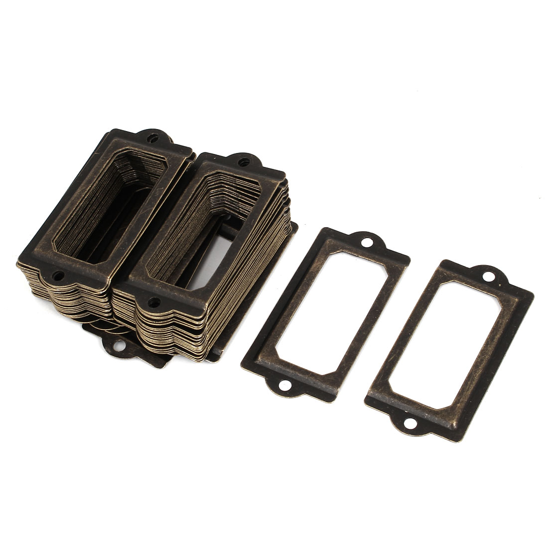 70mmx33mm Office Drawer Cabinet Label Pull Holder Frame Bronze Tone 50pcs