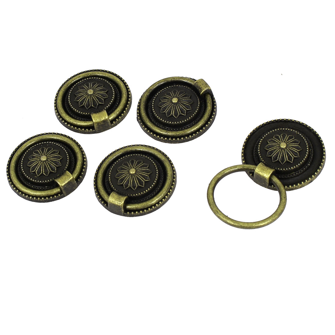 30mm Dia Door Drawer Antique Style Pull Handle Bronze Tone 5pcs