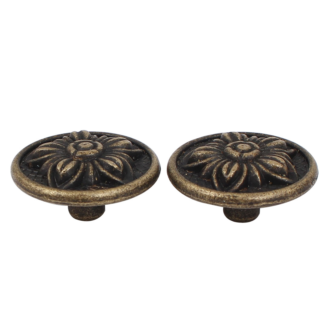Door Drawer Vintage Style Pull Handle Knob Bronze Tone 30mmx16mm 2pcs