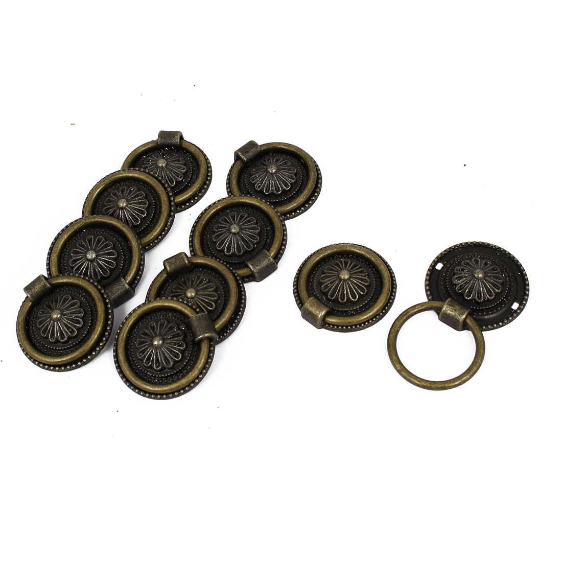 Door Drawer Round Shape Antique Pull Handle Bronze Tone 10pcs