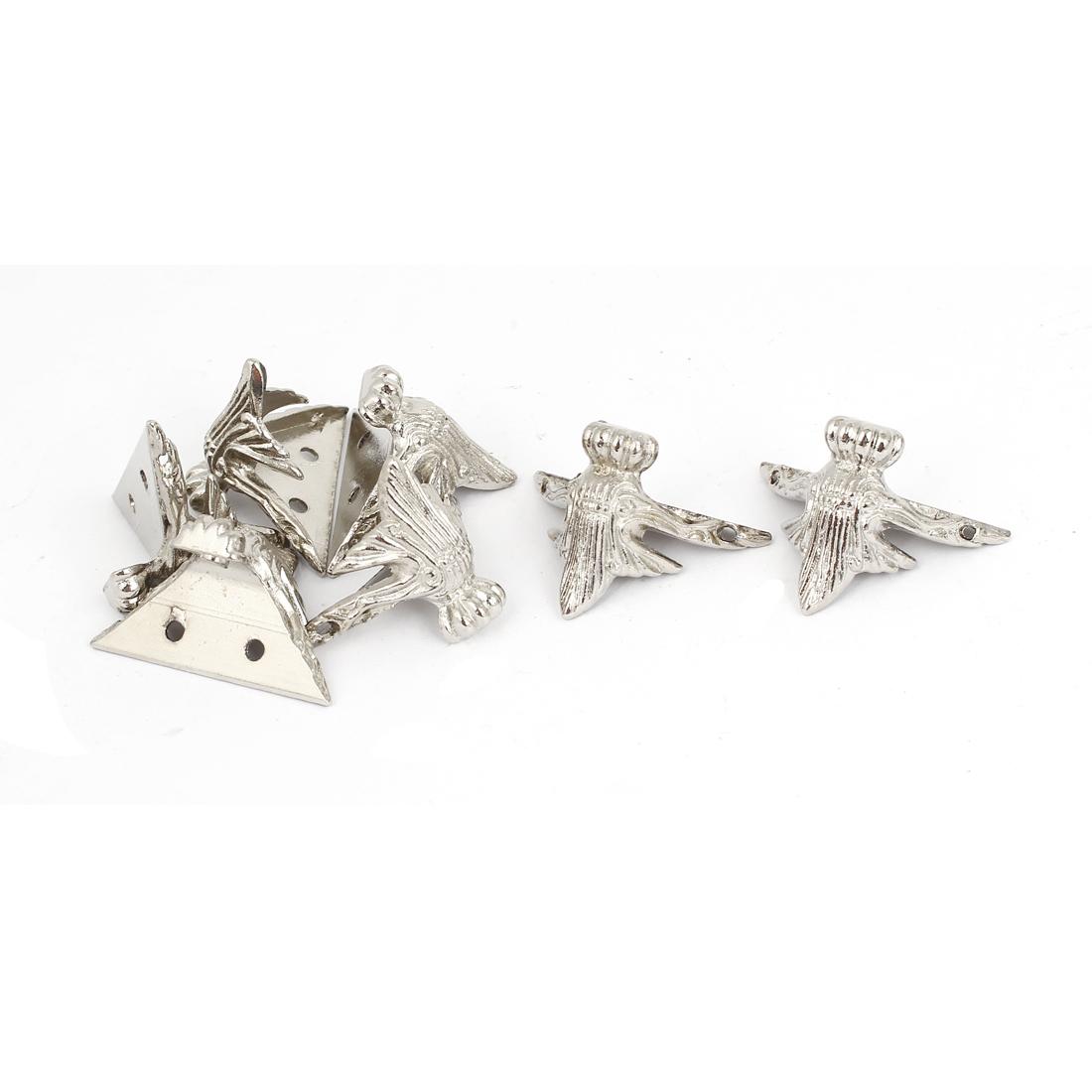 32mmx32mm Jewelry Gift Box Antique Corner Protector Guard Silver Tone 8pcs