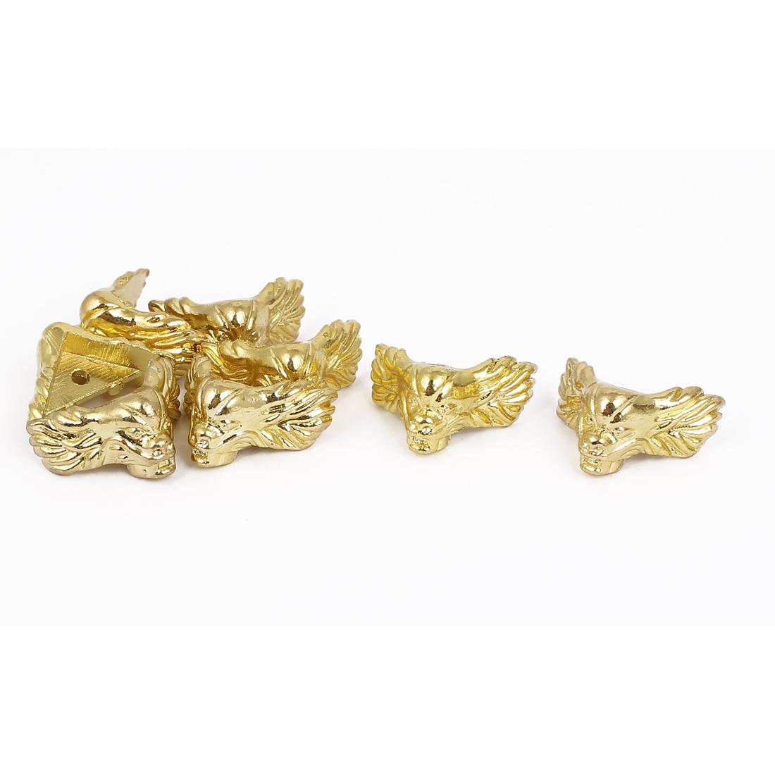 Metal Decorative Box Corner Protector Guard Gold Tone 8pcs