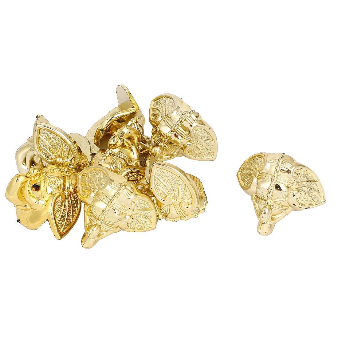 32mmx32mm Decorative Jewelry Gift Box Corner Protector Guard Gold Tone 8pcs