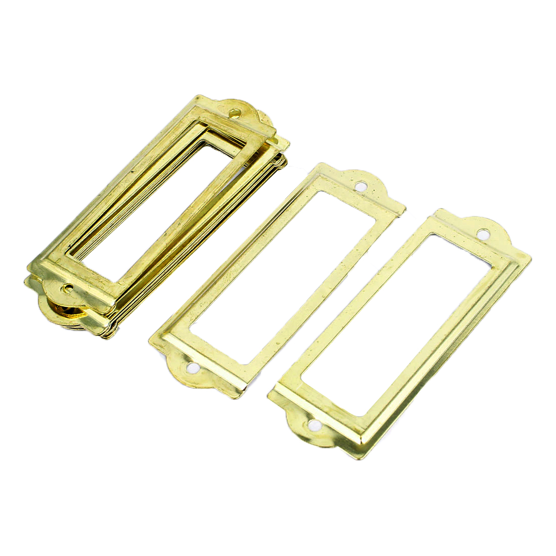 83mmx30mm Office Drawer Cabinet Label Pull Holder Frame Gold Tone 10pcs