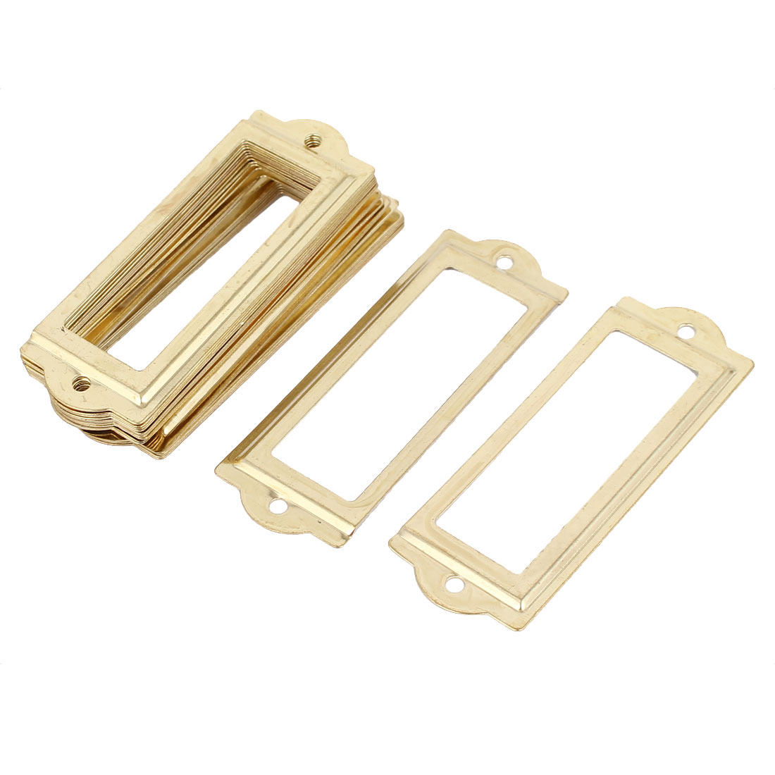 83mmx30mm Office Drawer Cabinet Label Pull Holder Frame Gold Tone 20pcs
