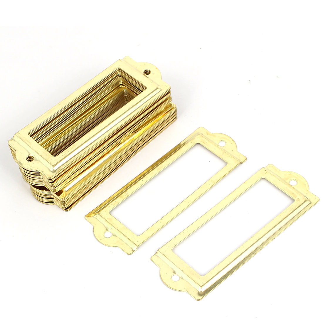 83mmx30mm Office Drawer Cabinet Label Pull Holder Frame Gold Tone 30pcs