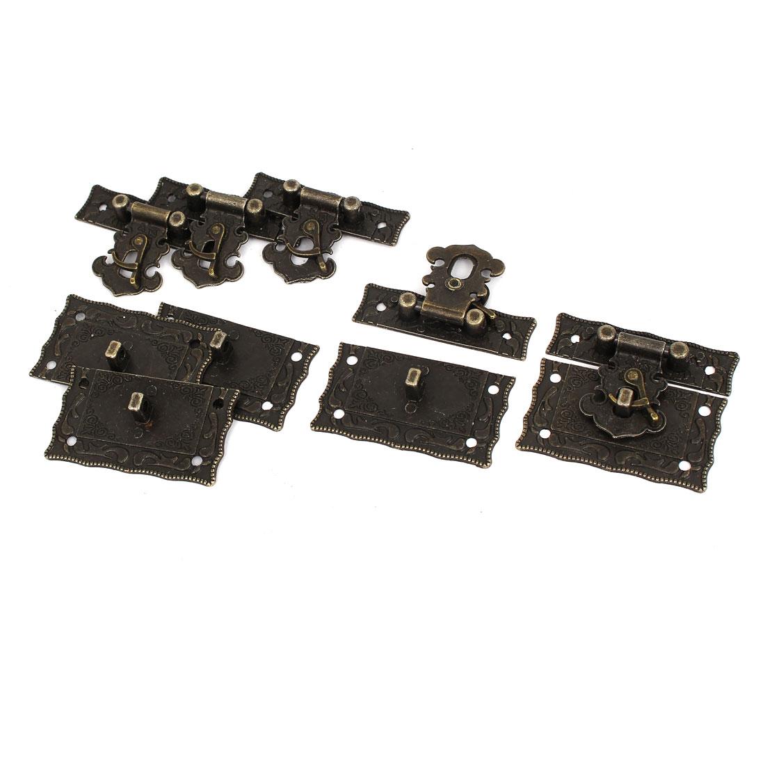 Antique Style Wooden Case Chest Box Clasp Hasp Latch Bronze Tone 5 Sets