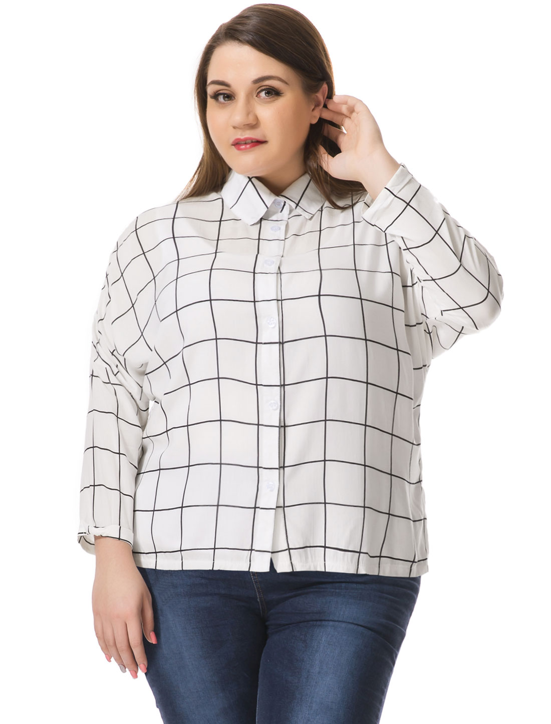 Women Plus Size Hi-Lo Hem Batwing Sleeves Checked Shirt White 2X