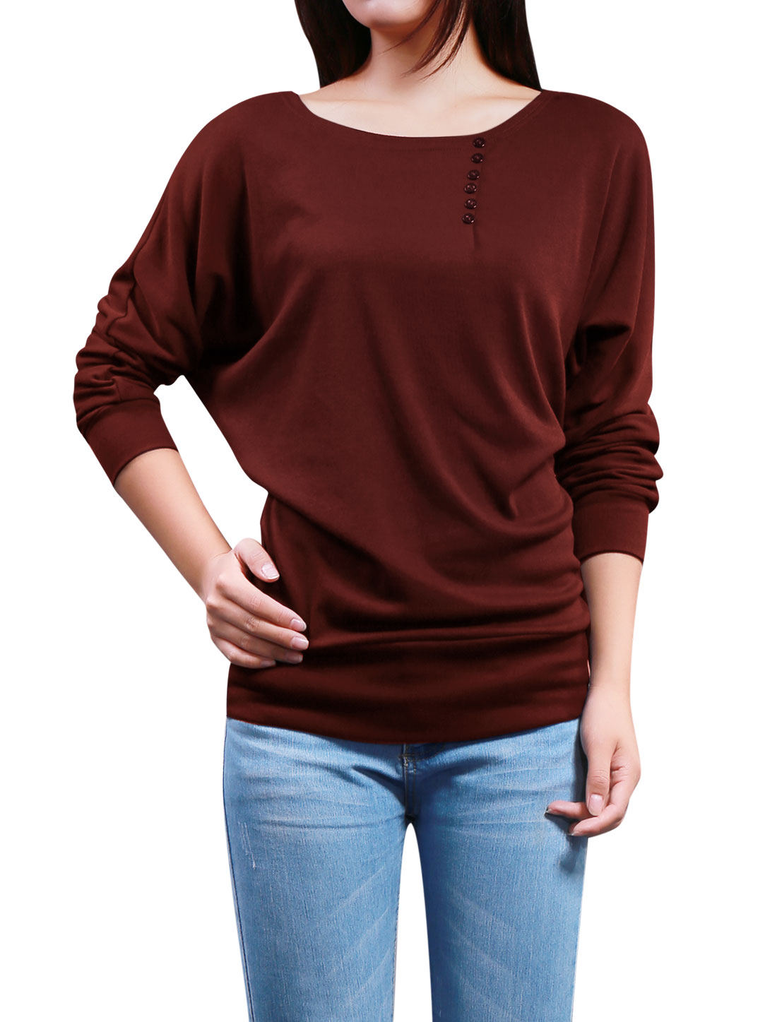 Ladies Boat Neck Buttons Decor Front Batwing Top Burgundy L