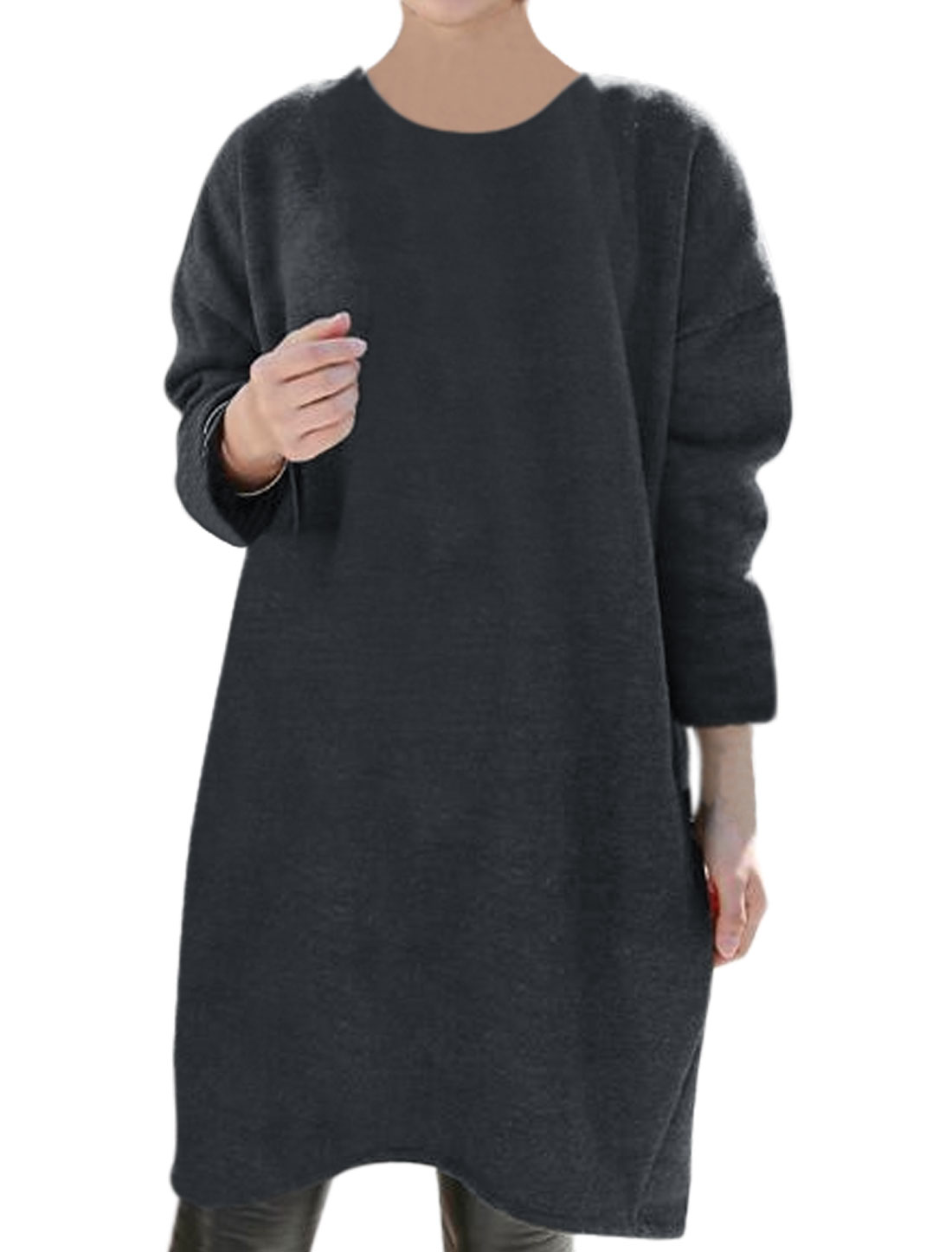 Woman Crew Neck Long Sleeves Soft Lined Loose Tunic Top Gray XS