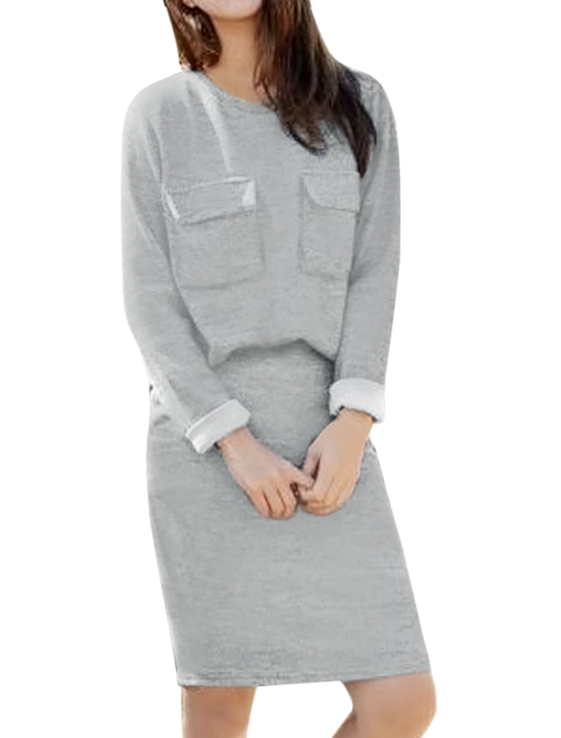 Women Flap Pockets Loose Top w High Waist Straight Skirt Sets Gray XS