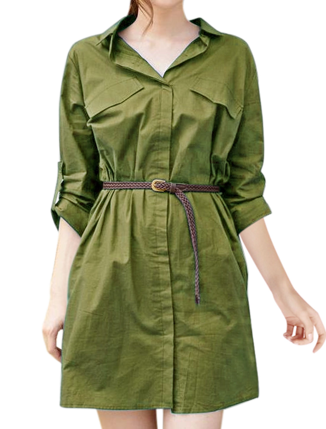 Woman Collared Roll Up Sleeves Shirt Dress w Belt Green XS