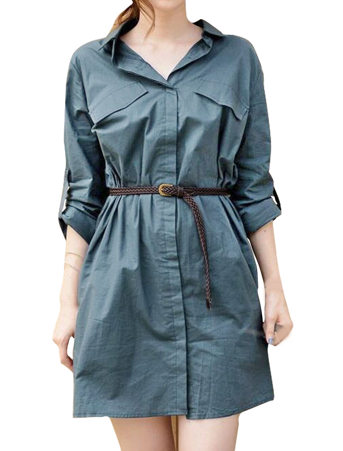 Woman Collared Roll Up Sleeves Shirt Dress w Belt Blue XS
