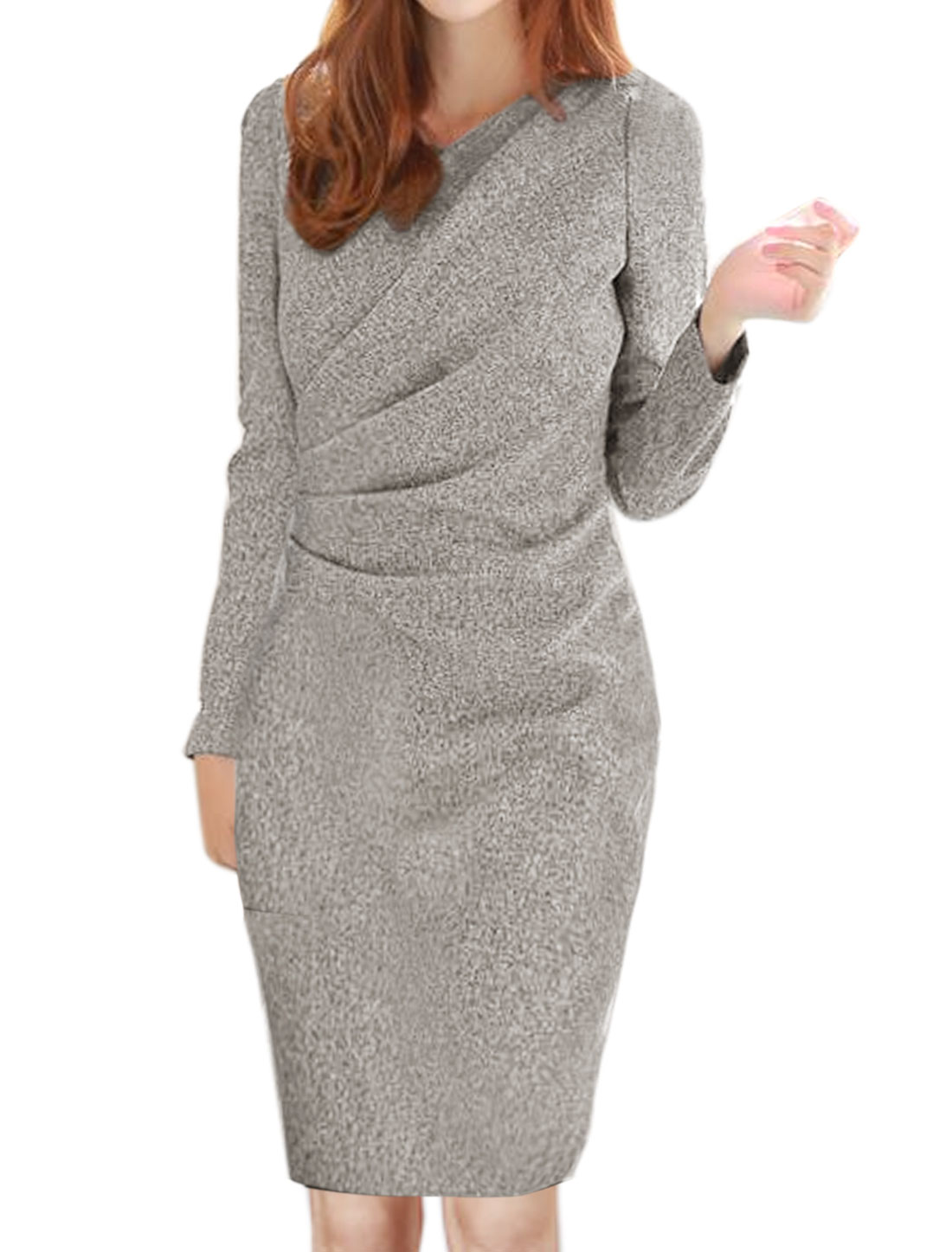 Ladies Long Sleeves Slim Fit Ruched Sheath Dress Gray S
