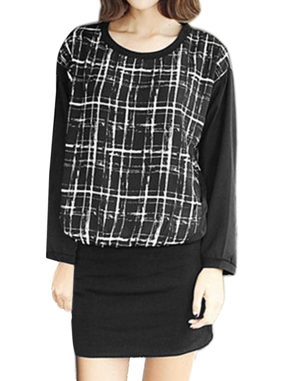 Woman Dolman Plaids Panel Design Layered Blouson Dress Black S