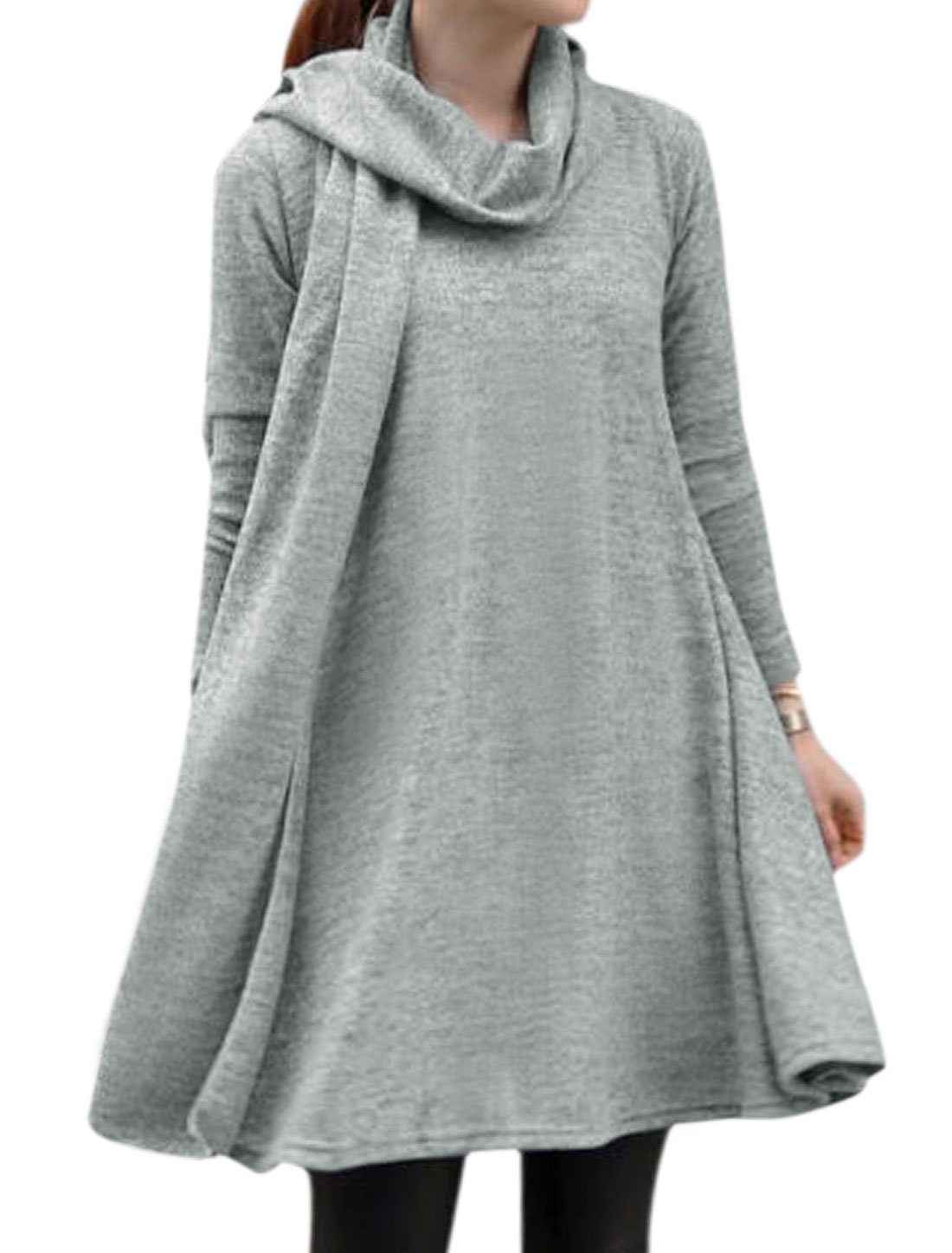 Women Round Neck Long Sleeves A Line Dress w Scarf Gray XS