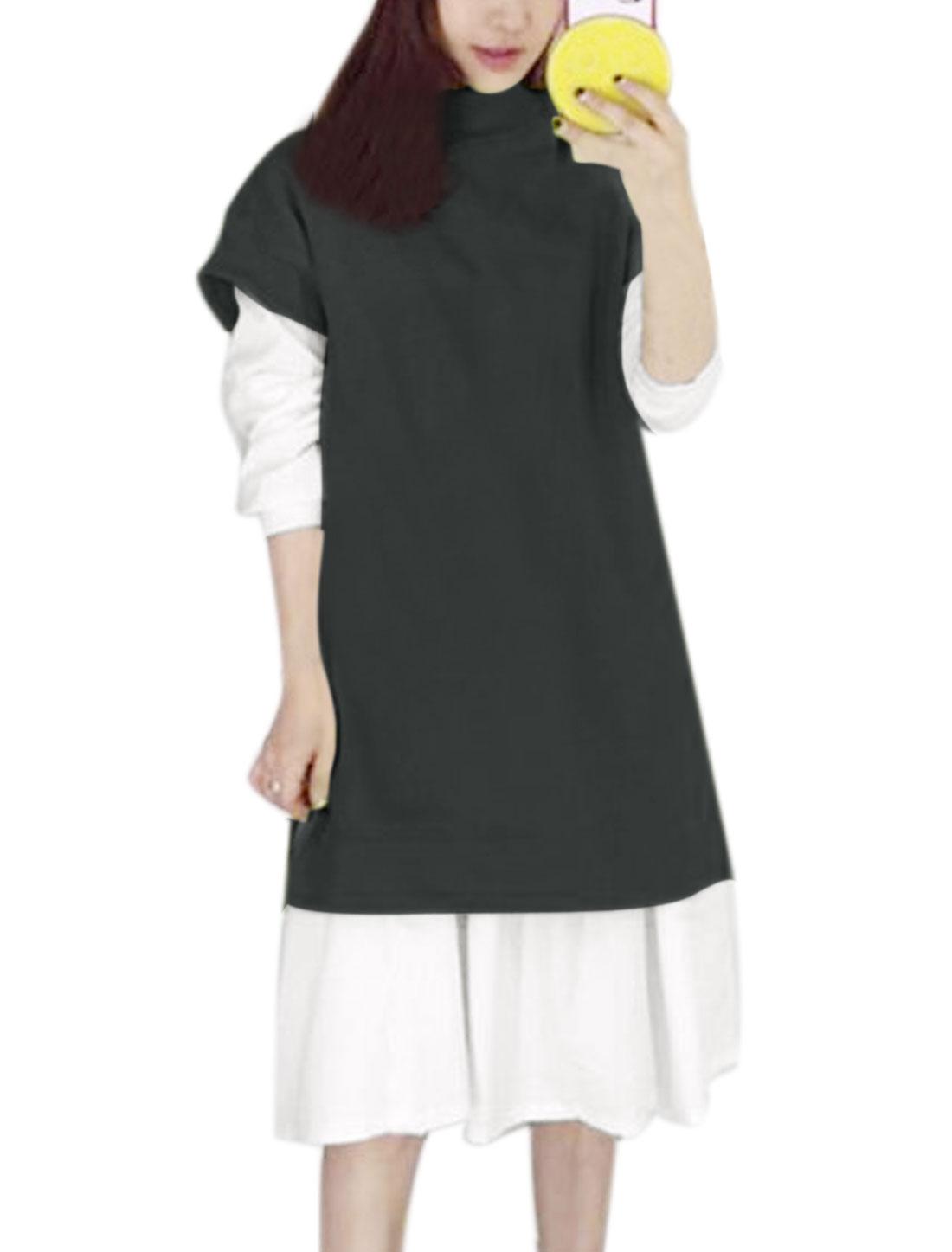 Women Soft Lined Tunic Top w Ruffled Hem Dress Sets Gray XS