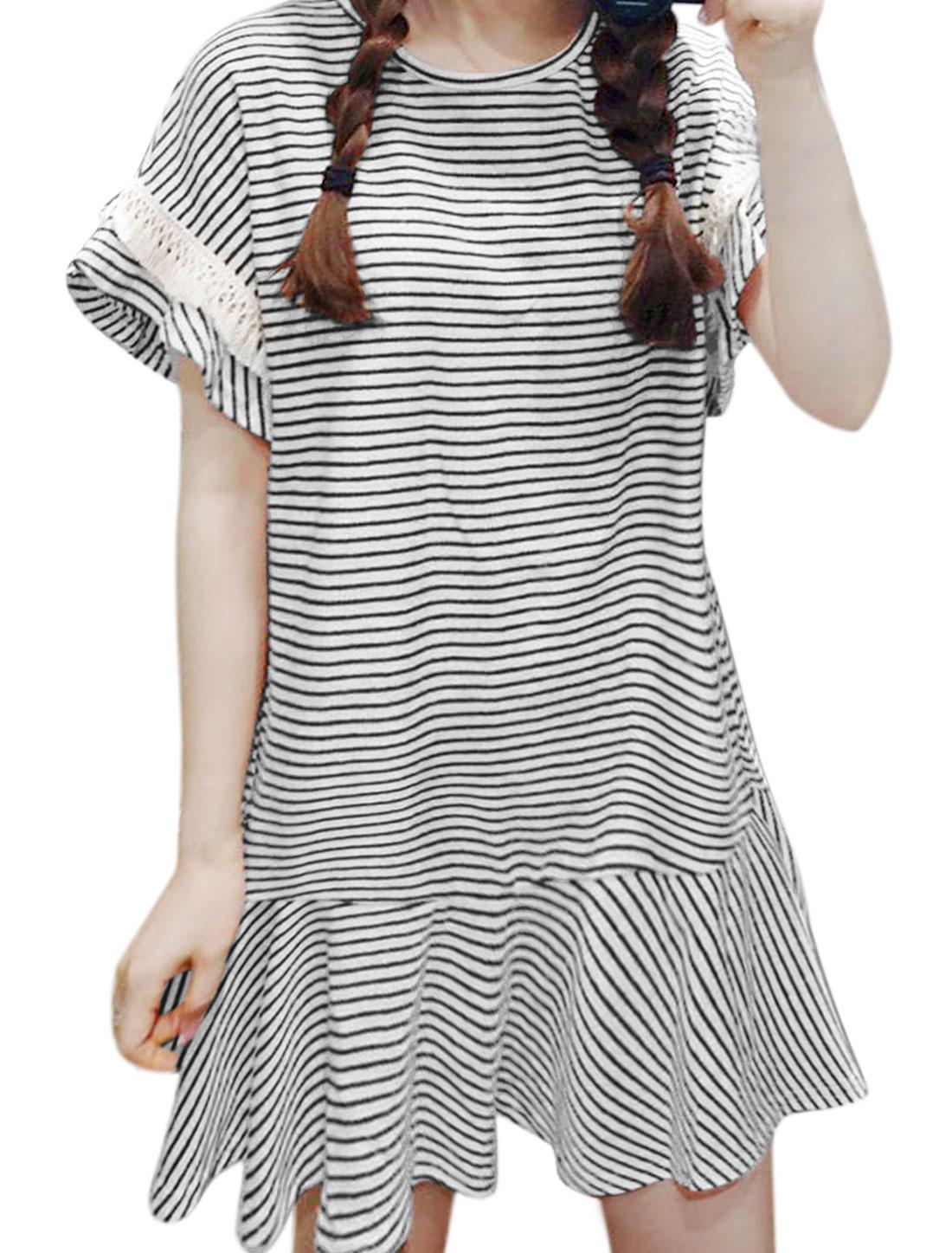 Women Tassels Decor Stripes Ruffled Hem Mini Dress Black XS