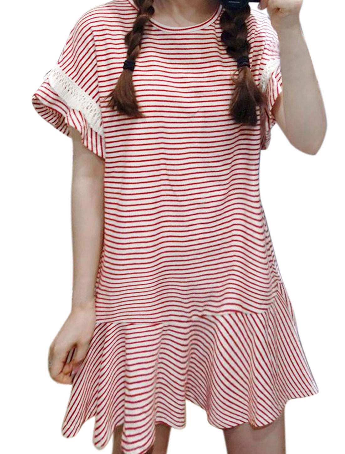 Women Tassels Decor Stripes Ruffled Hem Mini Dress Red XS