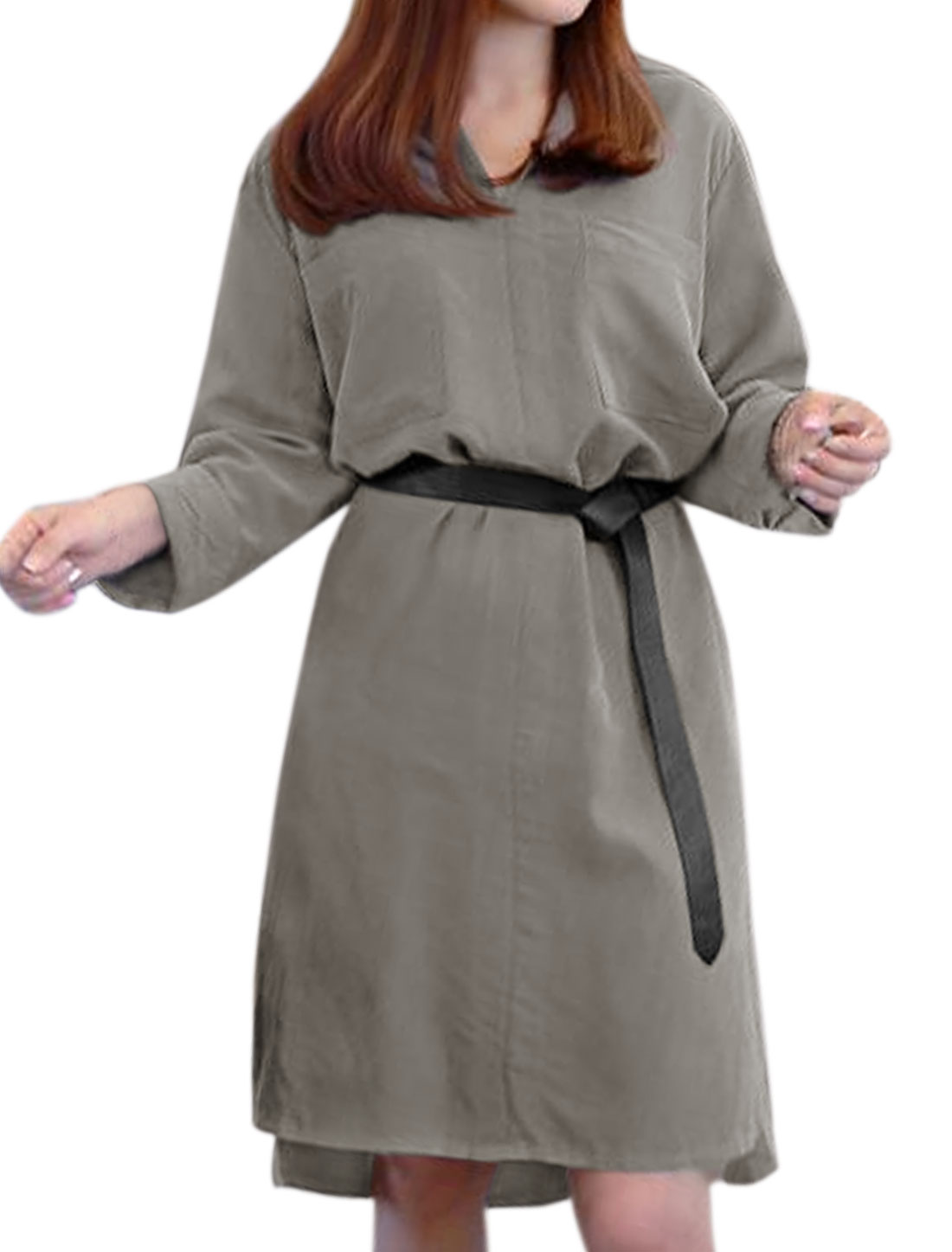 Women Split Sides High Low Hem Loose Tunic Dress w Belt Gray XS