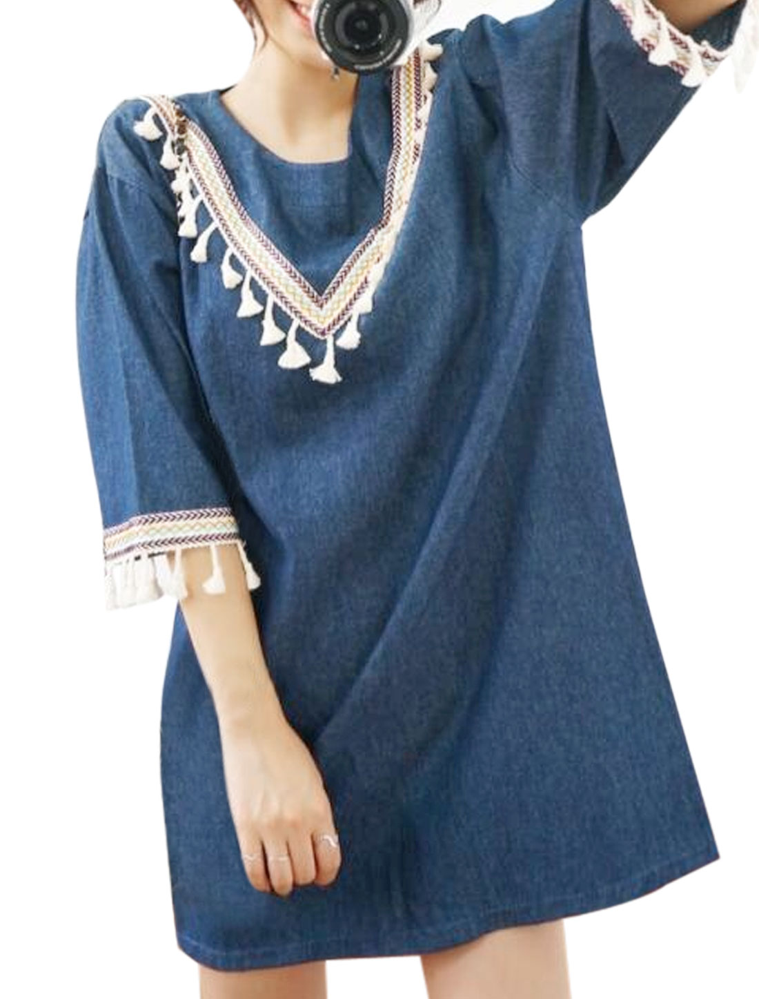 Women Floral Embroidered Tassels Decor Loose Tunic Dress Blue XS