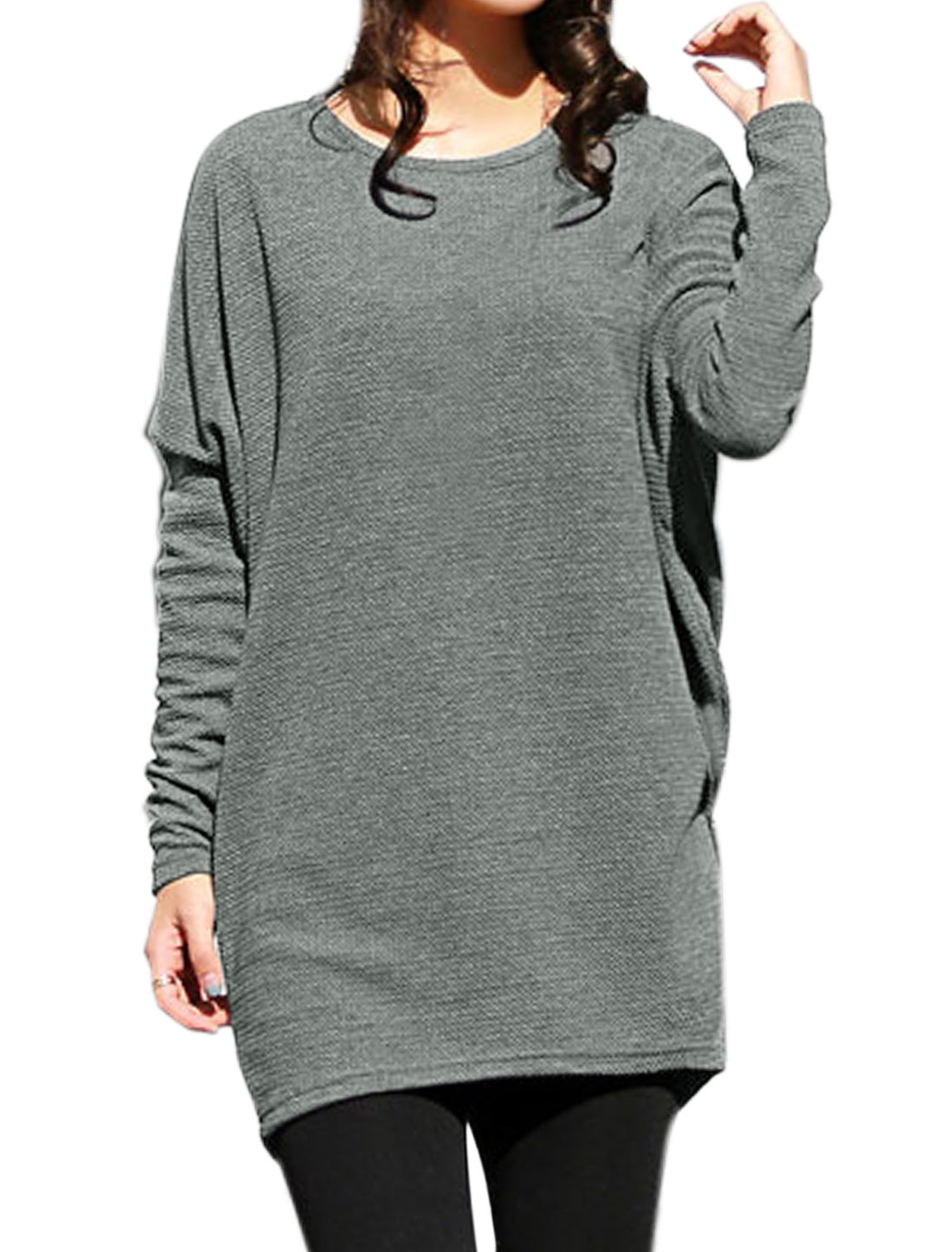 Women Round Neck Textured Loose Dolman Tunic Top Gray M