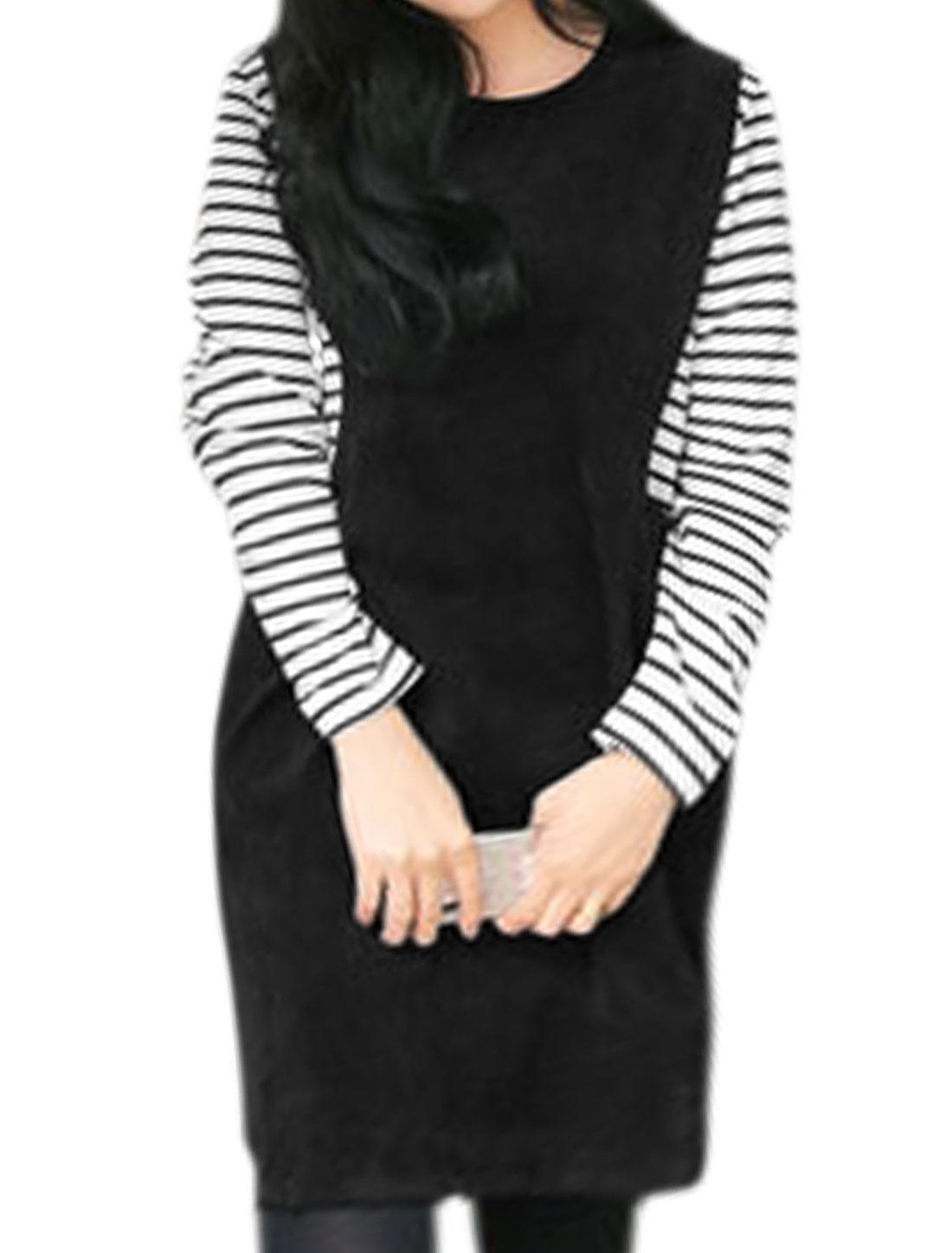 Women Stripes Paneled Layered Tunic Dress Black XS