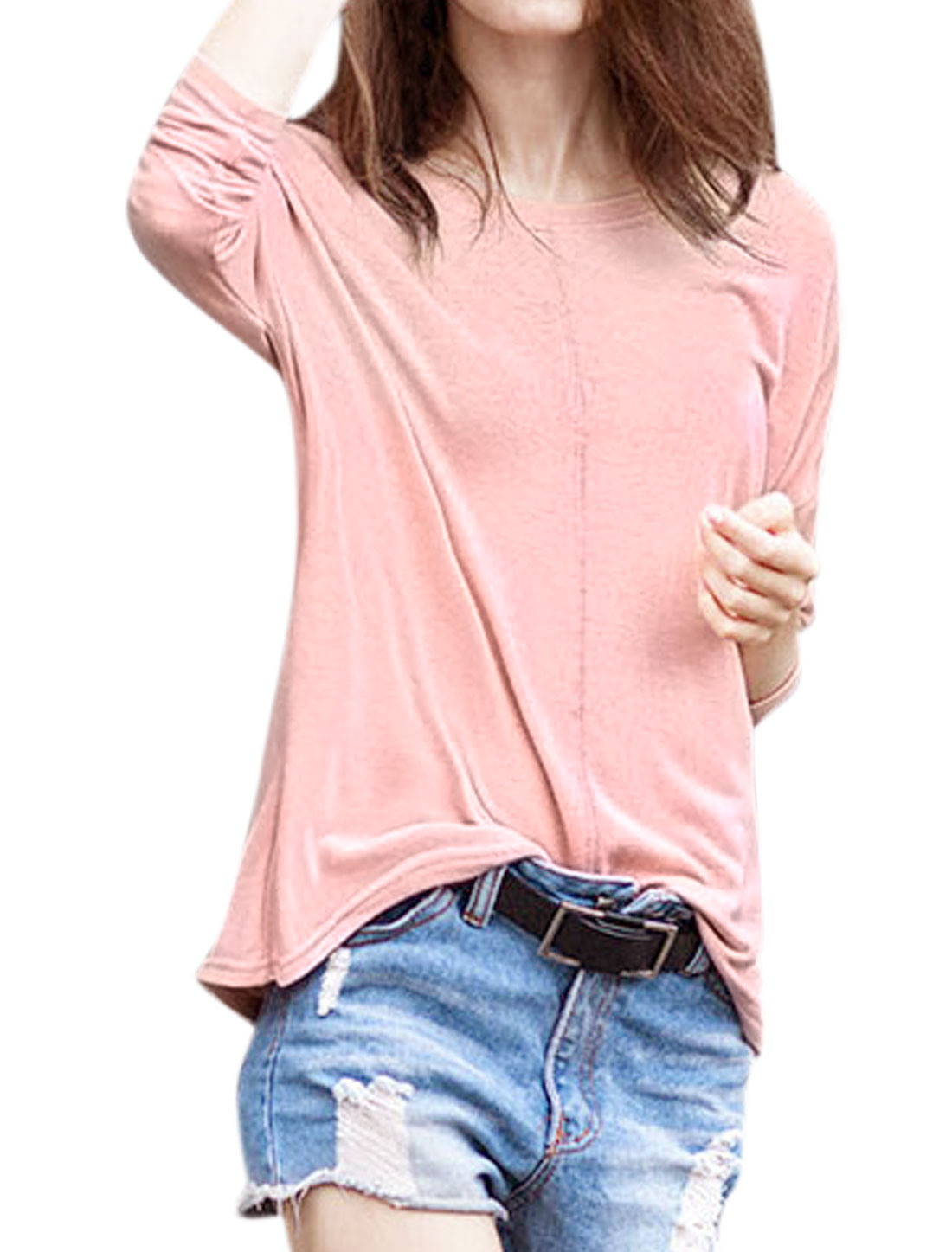 Women Decorative Seam Loose Batwing T-Shirt Pink XS