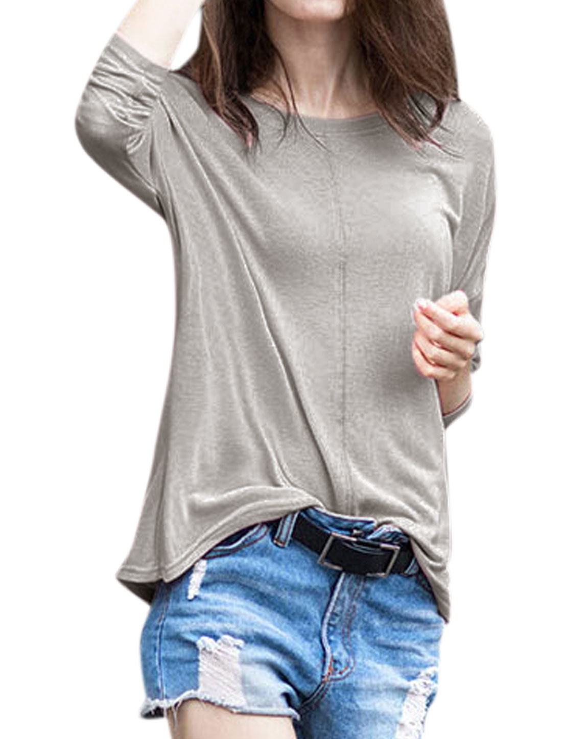 Women Decorative Seam Loose Batwing T-Shirt Gray XS